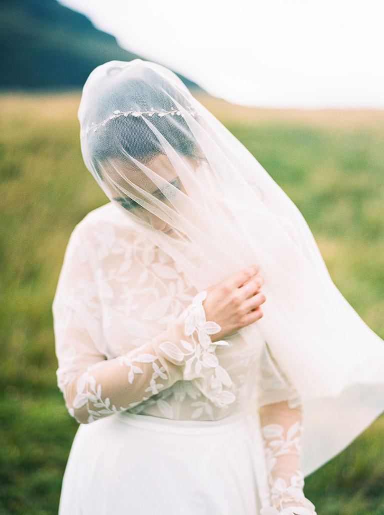 Romantic Iceland Bride in Drop Veil and Rue de Seine Gown by Destination Wedding Photographer Anna Peters