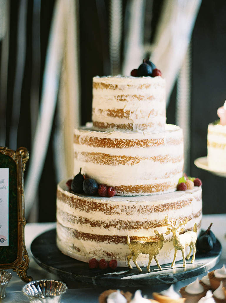 Elegant and rustic wedding cake with figs and raspberry accents by Spokane Wedding Photographer Anna Peters
