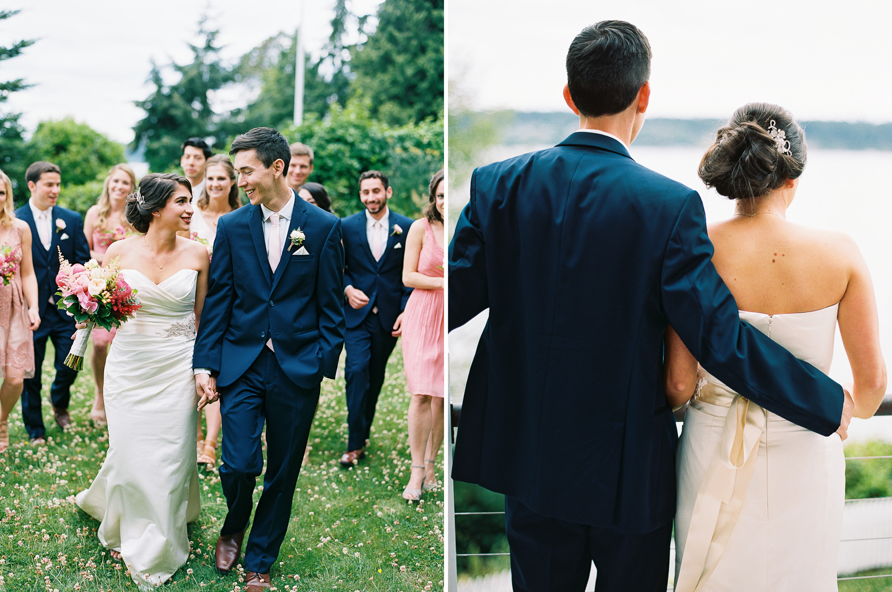 Elegant bridal party in navy and blush captured by top Seattle Wedding Photographer Anna Peters