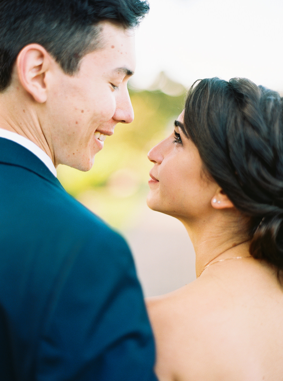 Bride and groom portraits at a summer Kiana Lodge wedding