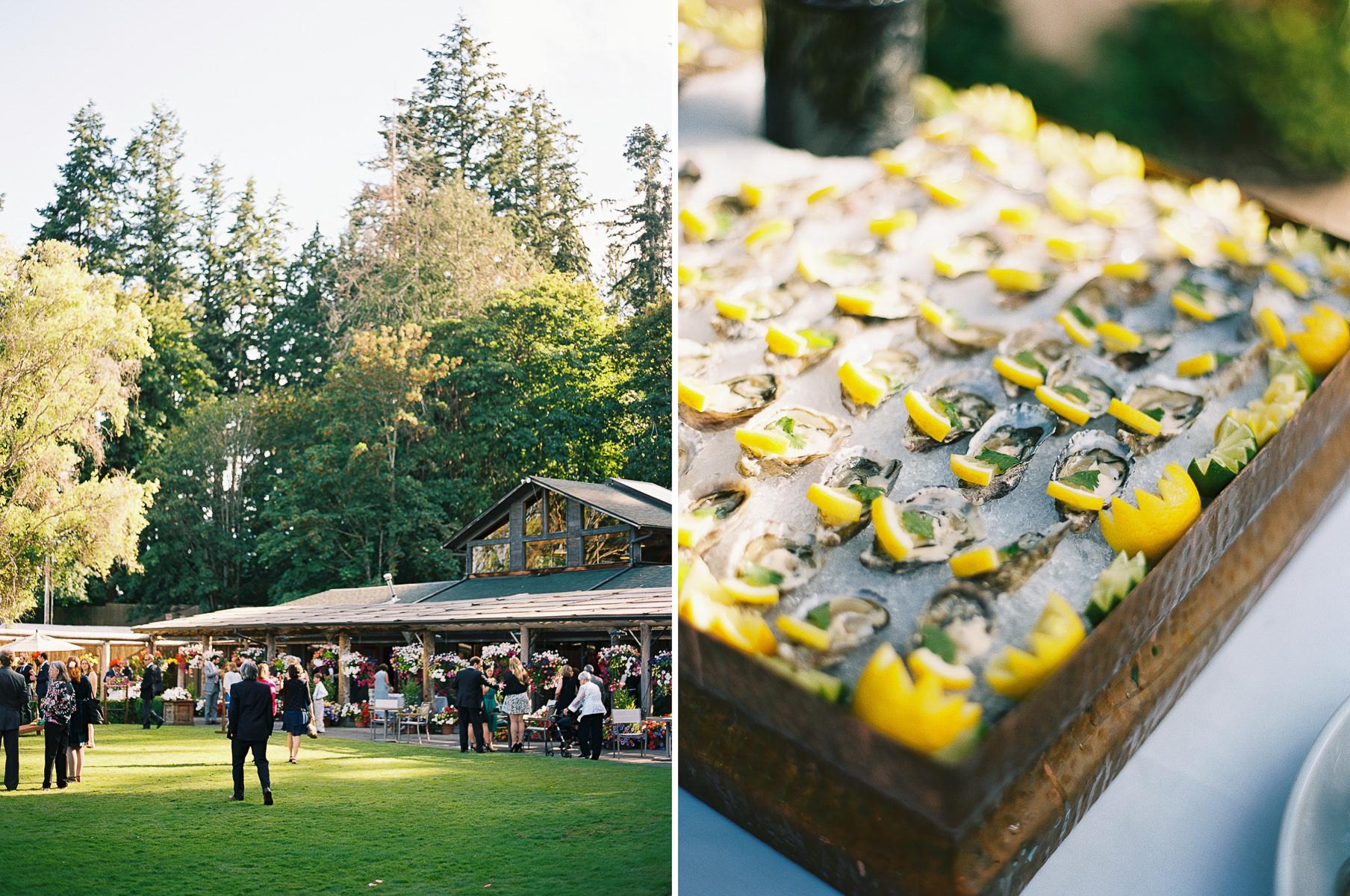Oyster bar at an elegant summer wedding at Kiana Lodge