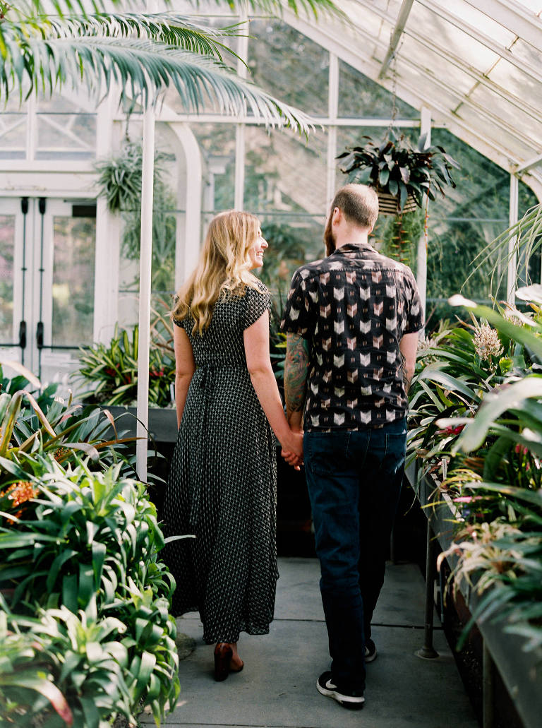 Relaxed and romantic Volunteer Park Conservatory Engagement Photo by Seattle Wedding Photographer Anna Peters