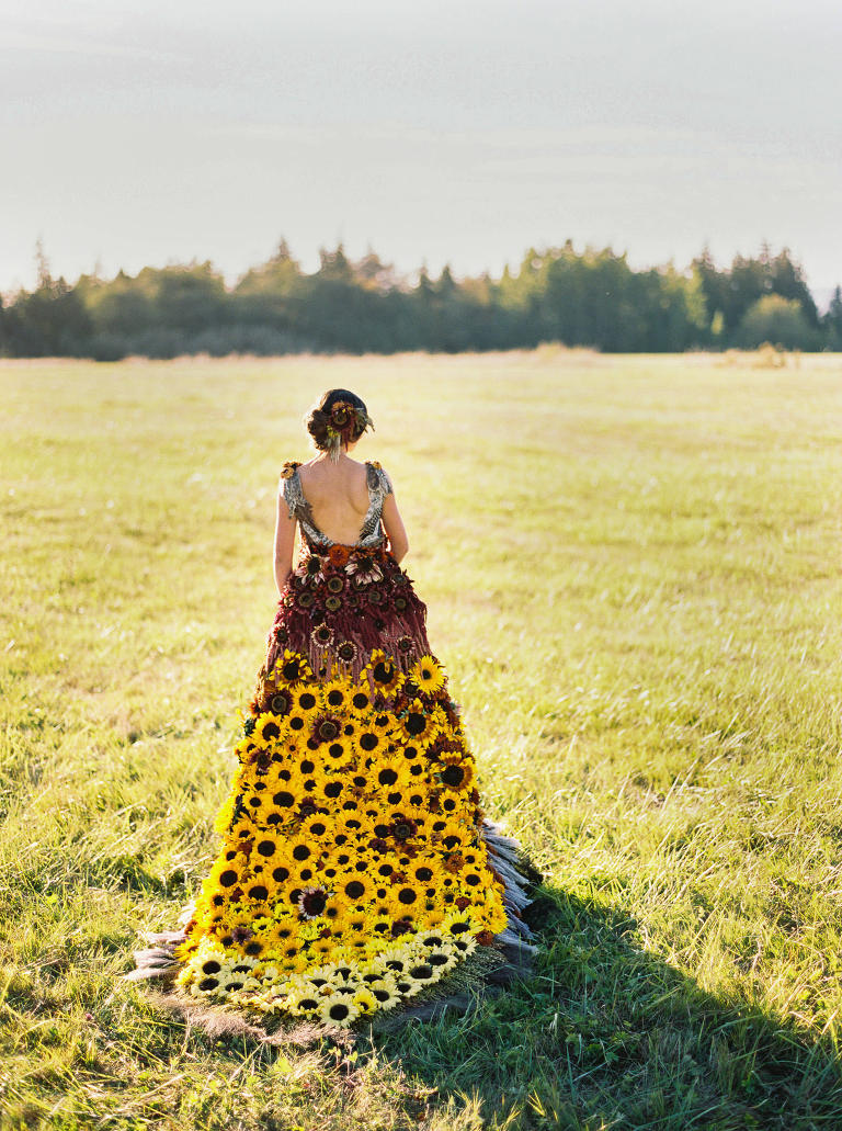 Romantic, sundrenched bridal portraits in a custom floral gown for American Flowers Week | Seattle Wedding Photographer Anna Peters