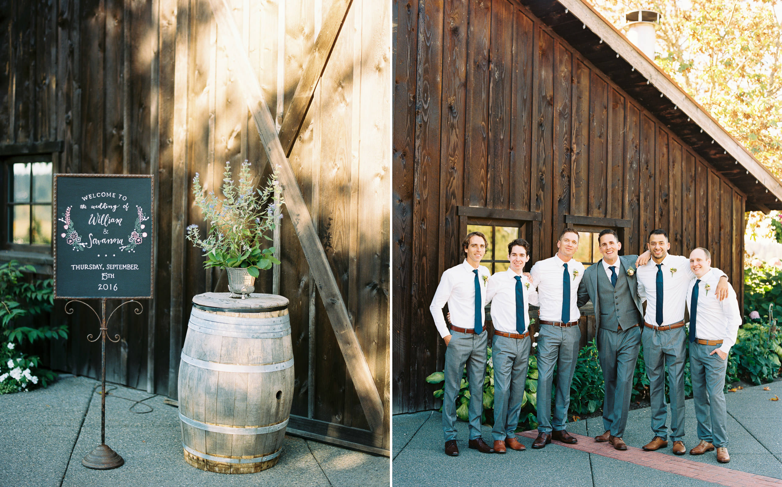 Groomsmen in grey suits at a romantic Kelley Farms Wedding | Seattle Wedding Photographer Anna Peters