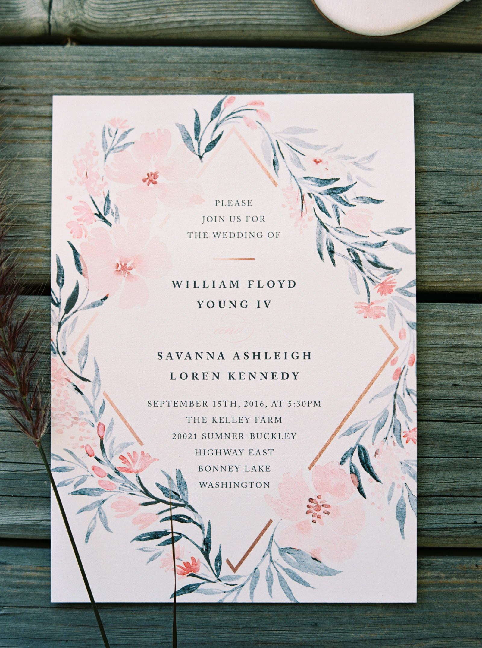Watercolor floral wedding invitation at Kelley Farms | Seattle Wedding Photographer Anna Peters