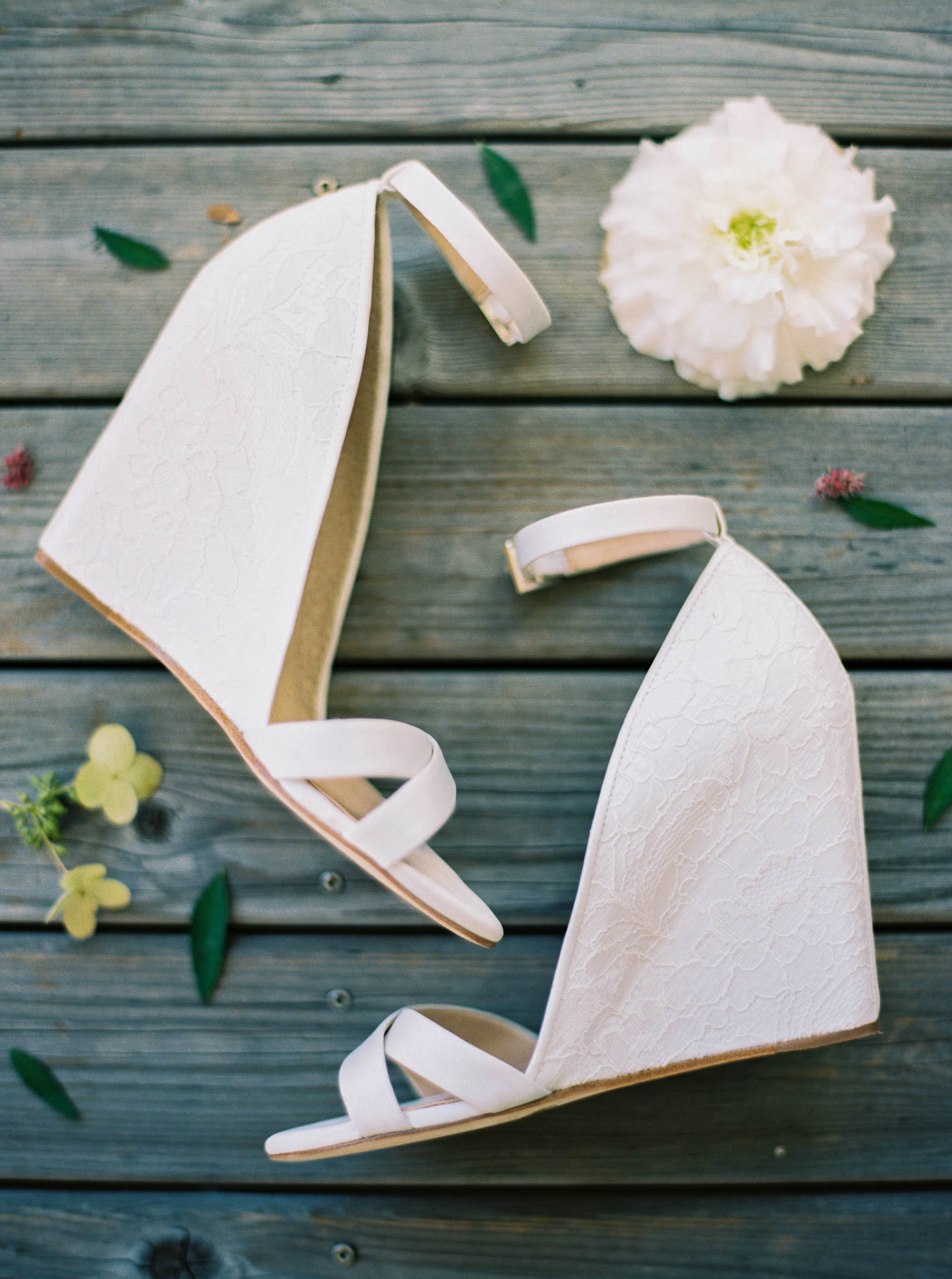 Romantic wedge wedding shoes at Kelley Farms | Seattle Wedding Photographer Anna Peters