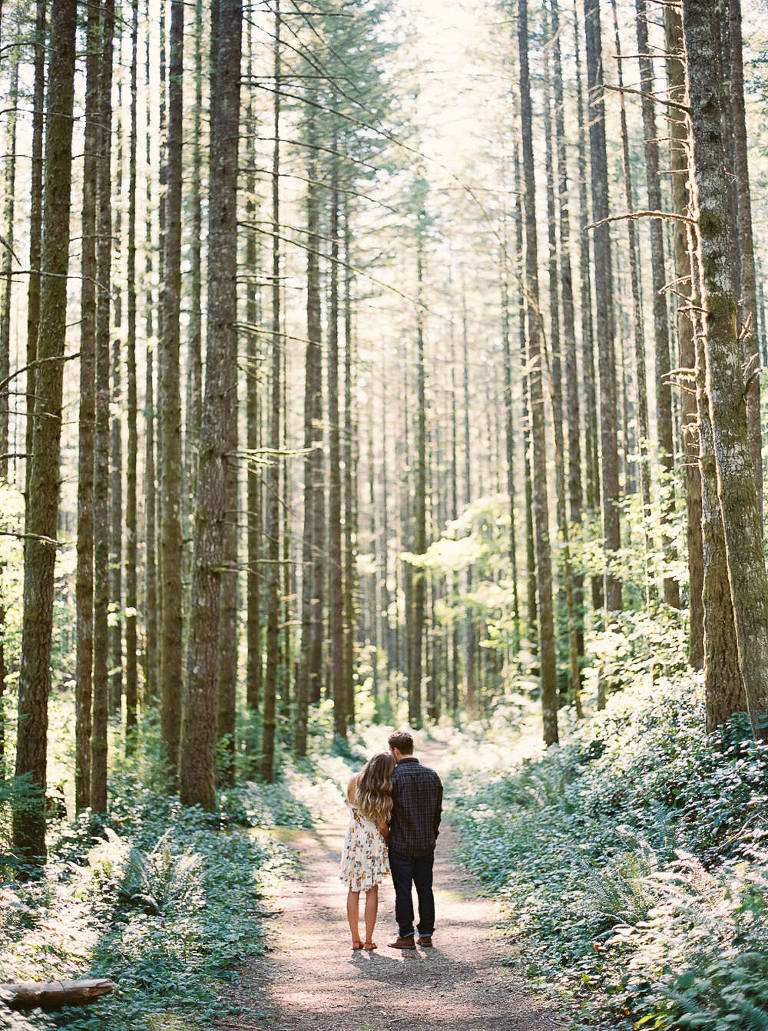 Adventurous engagement photos between the trees at Rattlesnake Ridge by Seattle Wedding Photographer Anna Peters