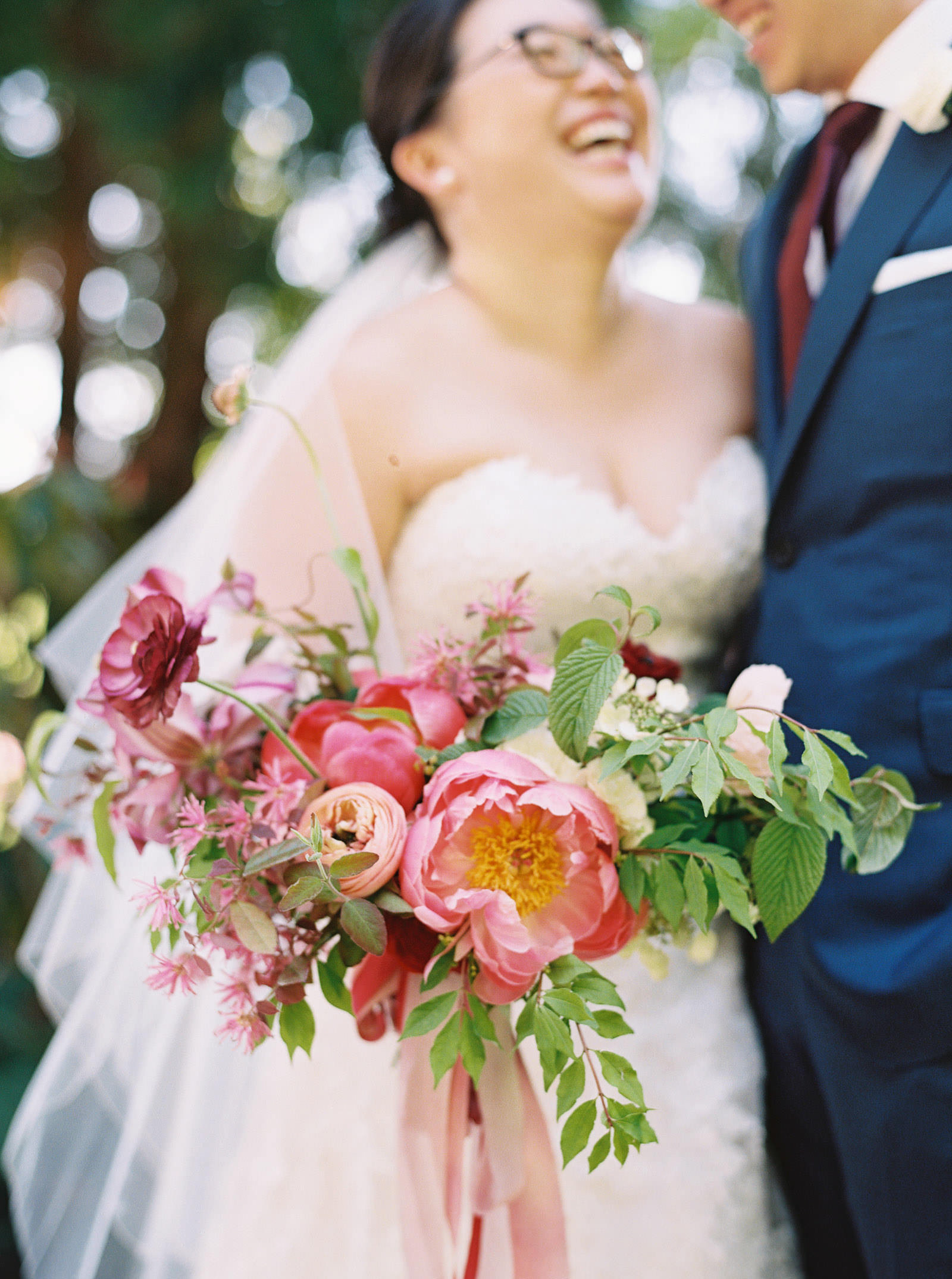 Wedding Bouquet with Peonies at an elegant DeLille Cellars Wedding captured by Top Seattle Wedding Photographer Anna Peters