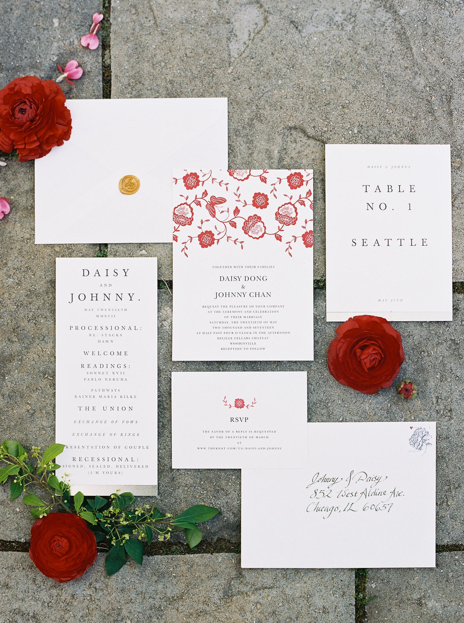 Modern Minted Invitation suite at a spring DeLille Cellars Wedding