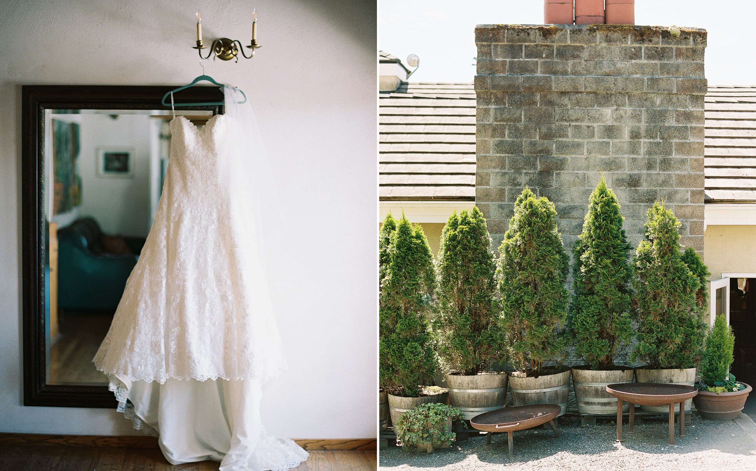 Getting ready at DeLille Cellars Chateau captured by Seattle Wedding Photographer Anna Peters