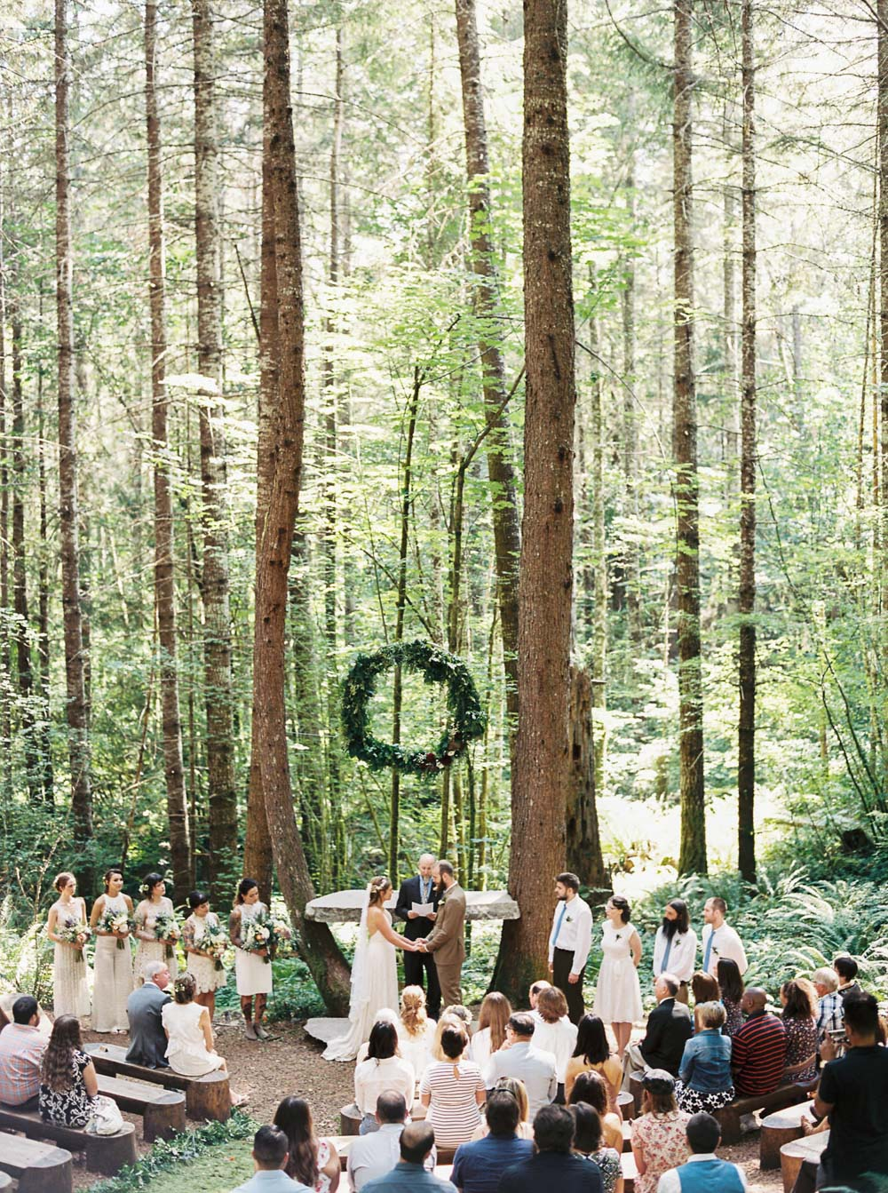 Wellspring Spa Wedding ceremony at Mt. Rainier captured by Seattle Wedding Photographer Anna Peters