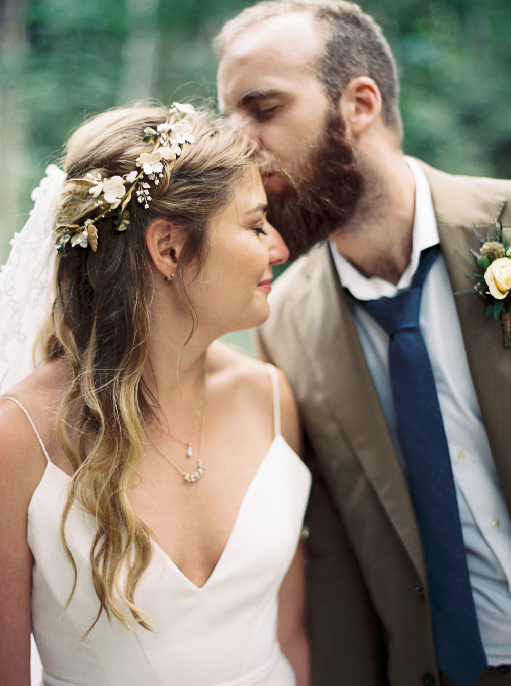 Bride and Groom at Wellspring Spa Wedding at Mt. Rainier with Seattle Wedding Photographer Anna Peters