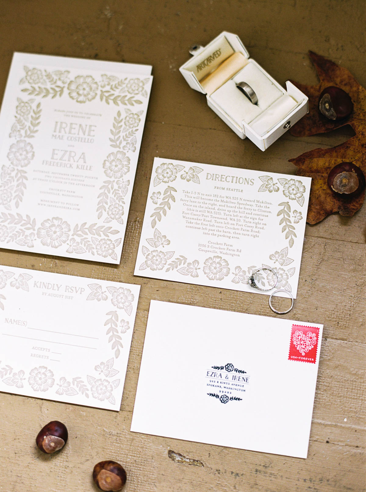 VIntage inspired wedding invitations at Crockett Farm