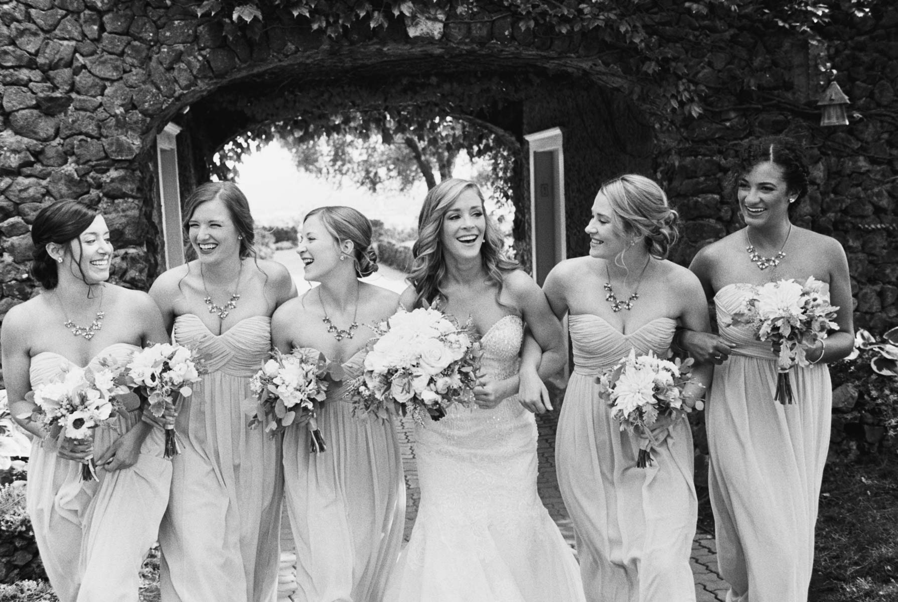 Bride and Bridesmaids at Arbor Crest Winery