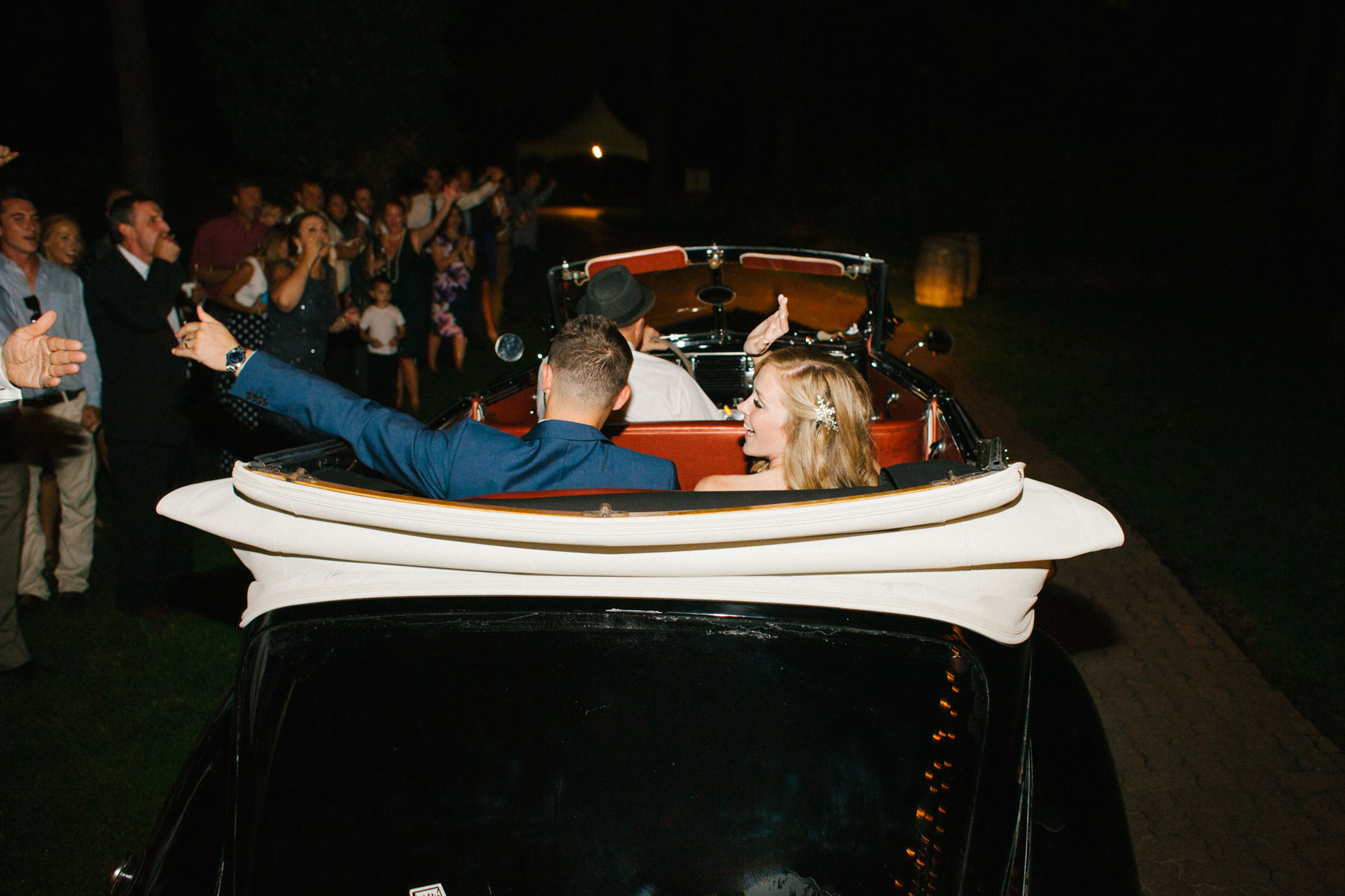 Wedding send off with a vintage car at Arbor Crest Winery