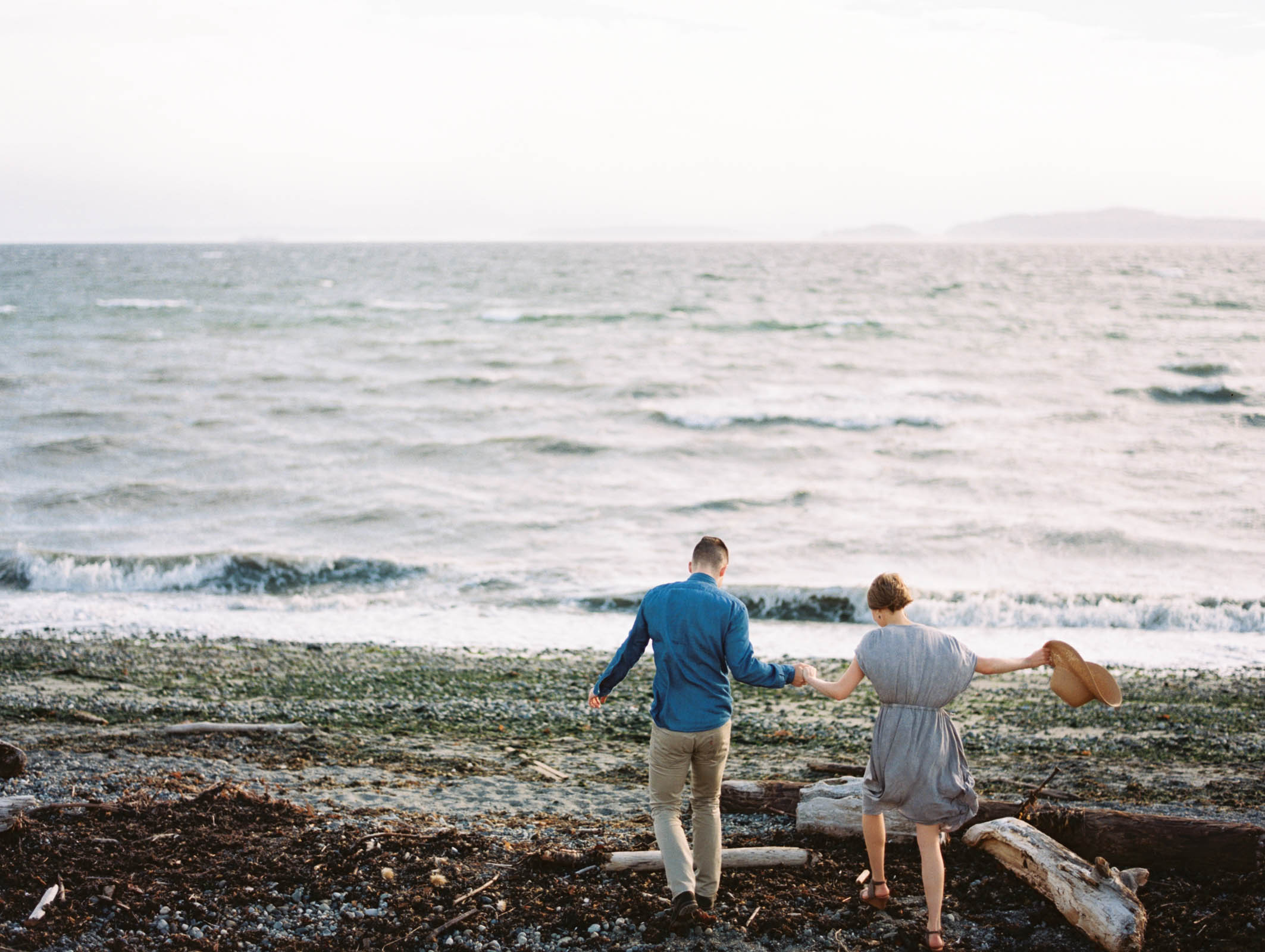Discovery park engagement session on the beach captured by top Seattle Wedding Photographer Anna Peters