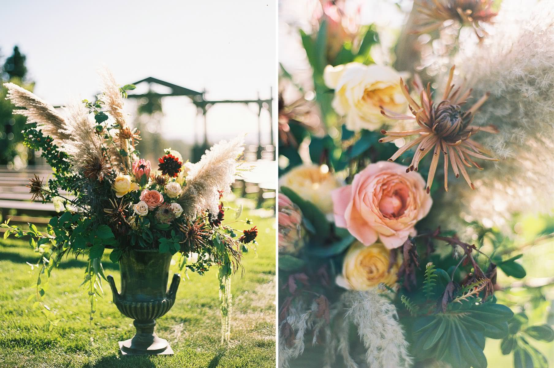Vibrant and organic floral design at Beacon Hill Events and Catering by top Spokane Wedding Photographer Anna Peters