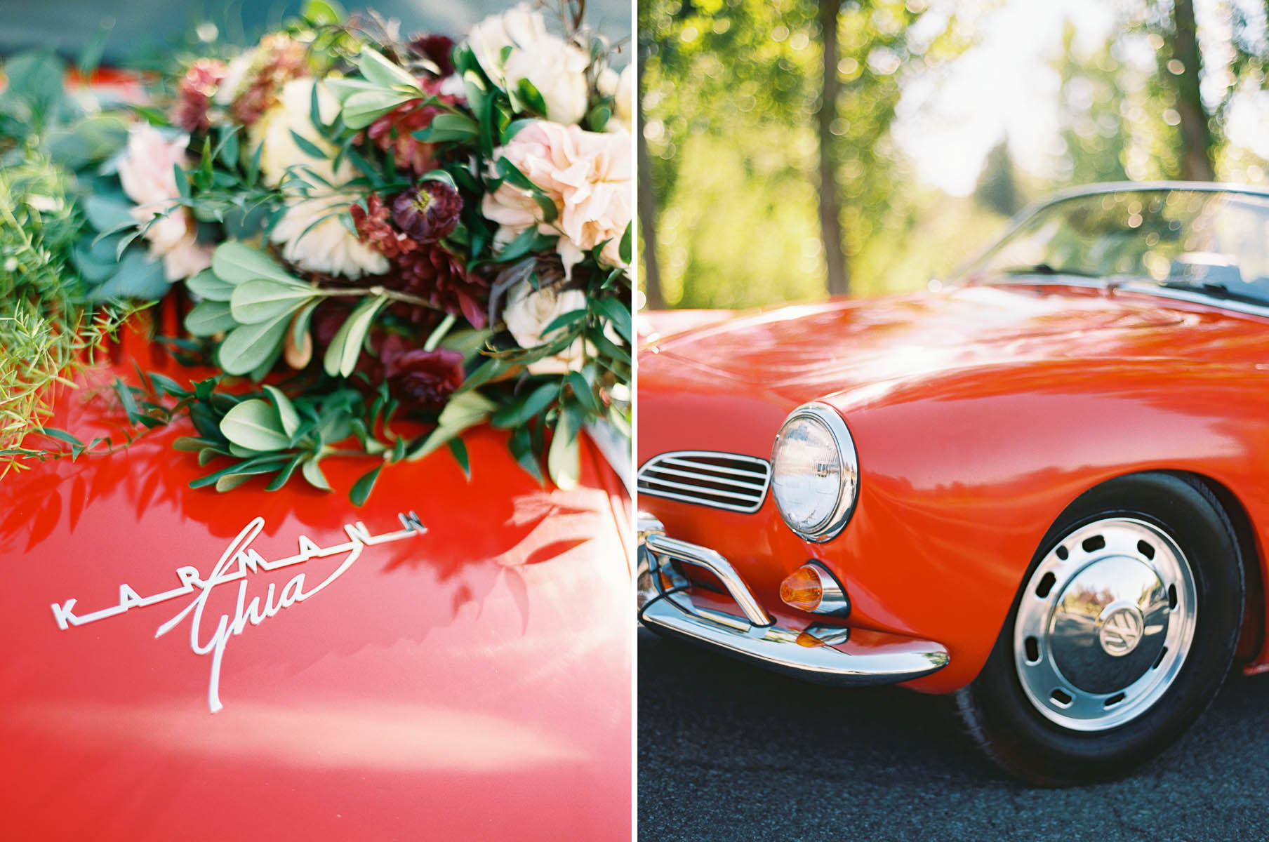Vintage getaway car at an elegant fall Beacon Hill Events Wedding by top Spokane Wedding Photographer Anna Peters