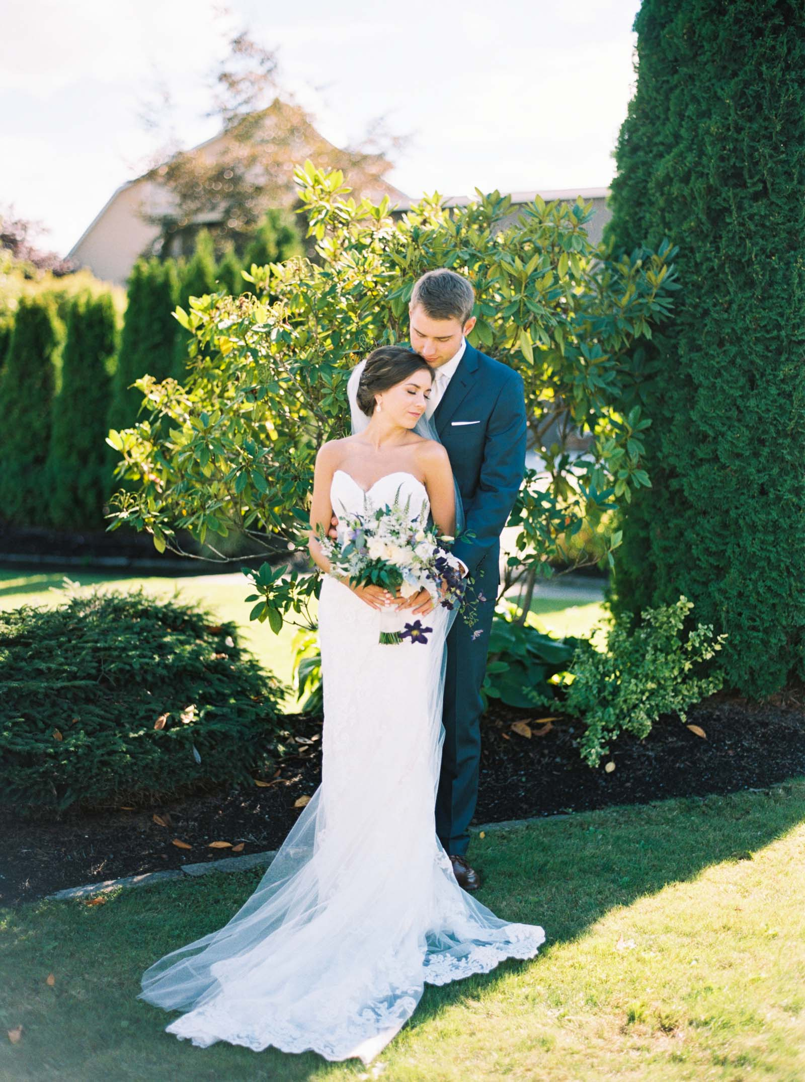 Romantic Bride and Groom portraits at Lord Hill Farms by Seattle Wedding Photographer Anna Peters