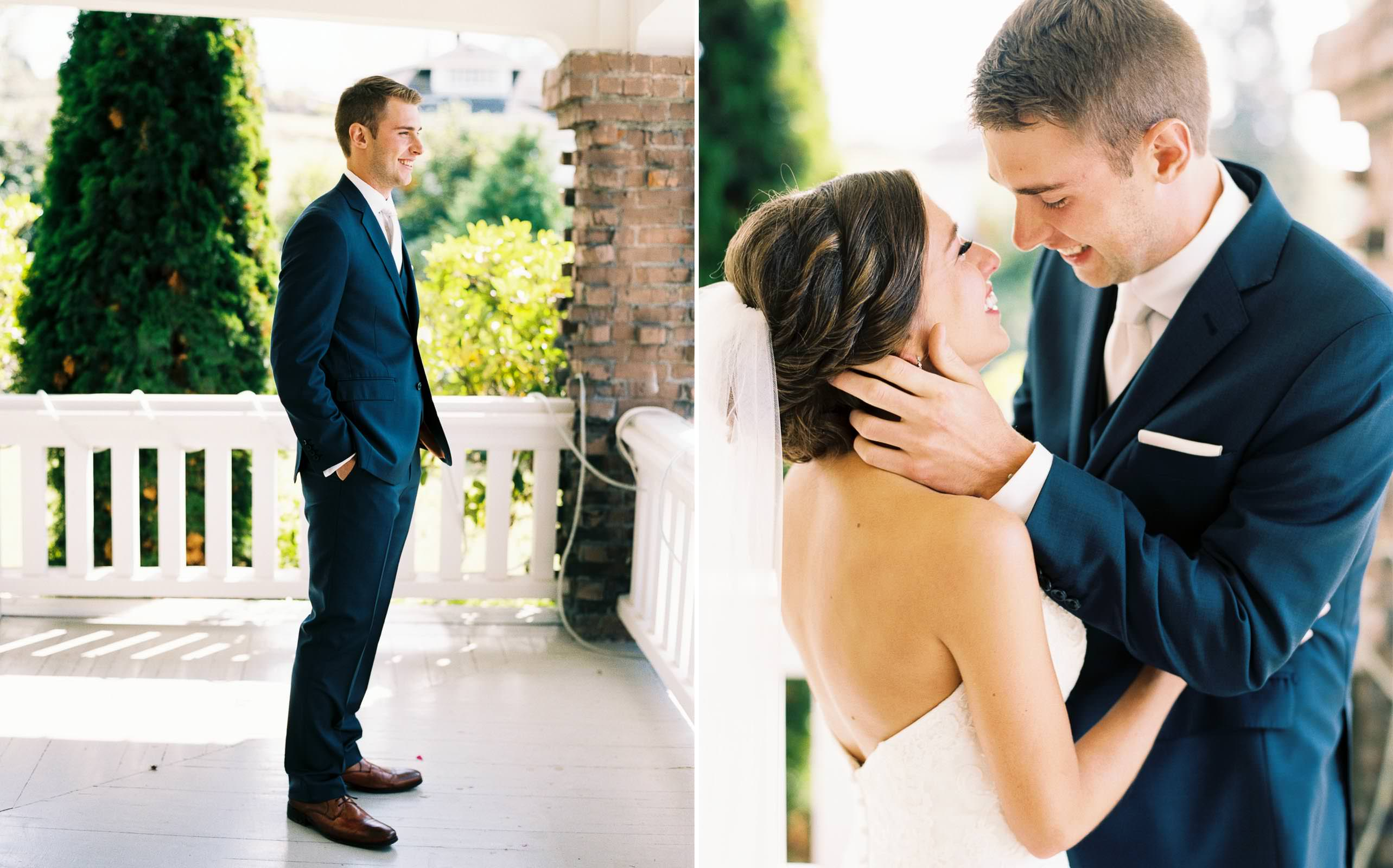 Emotional first look at a Lord Hill Farms Wedding captured by top Seattle Wedding Photographer Anna Peters