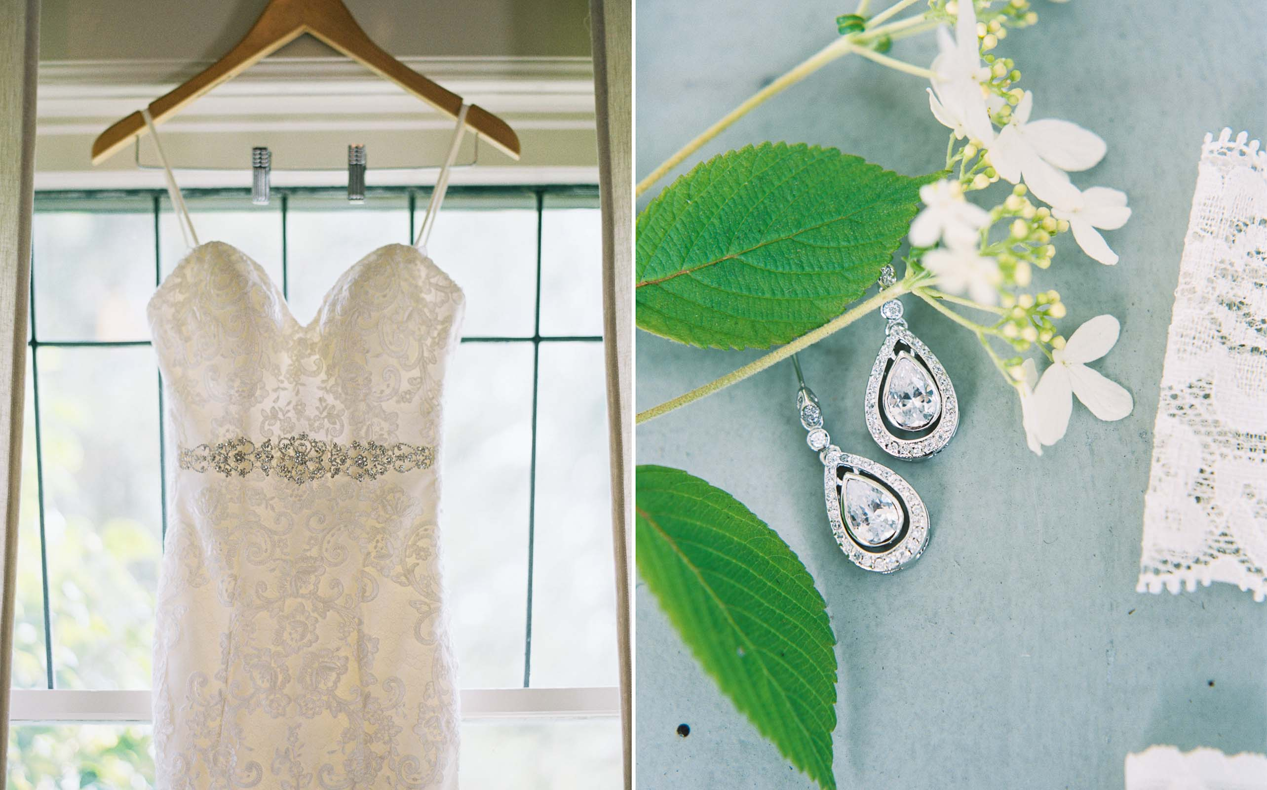 Wedding gown and jewelry details at an Elegant Lord Hill Farms wedding