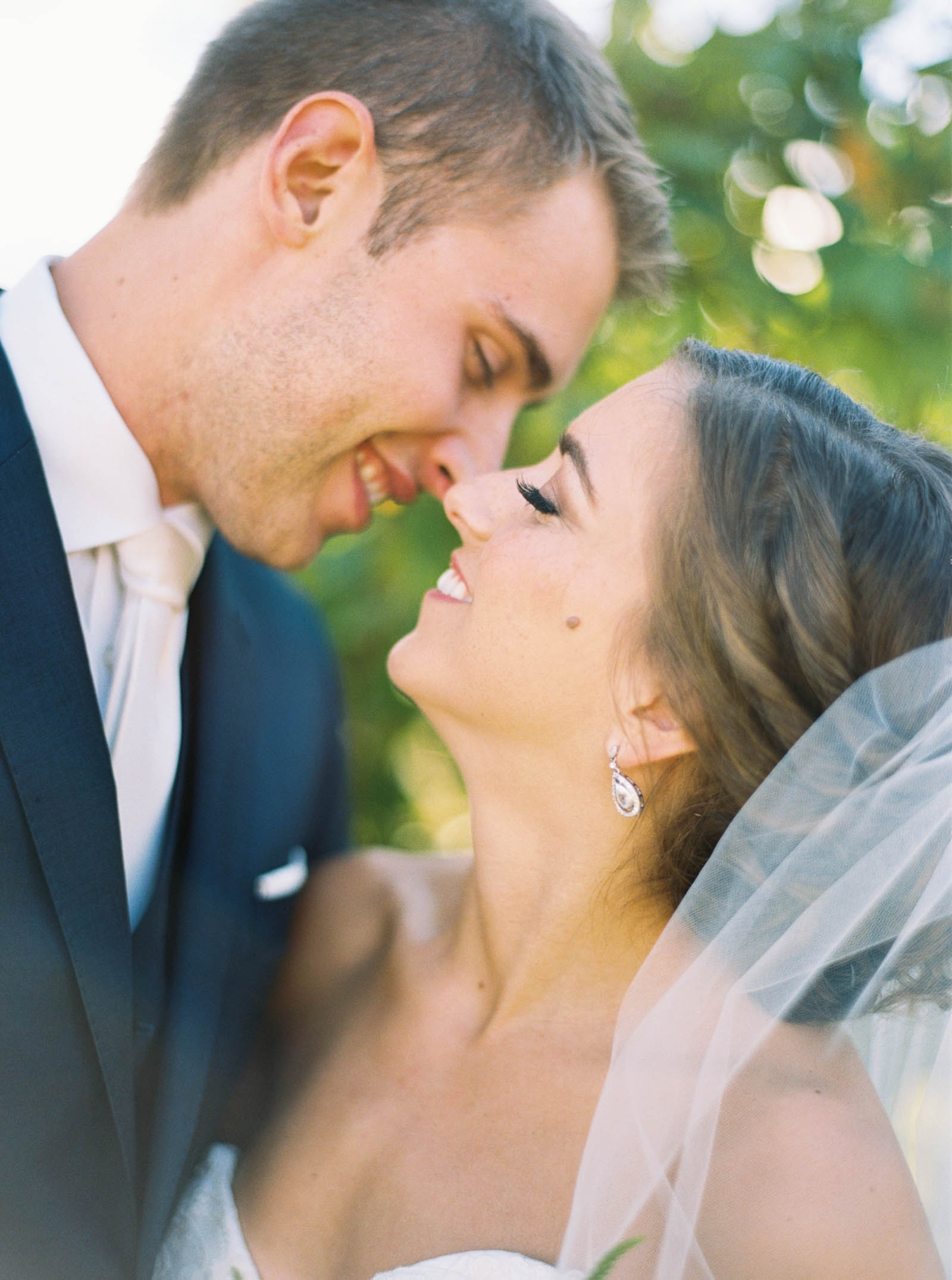 Bride and Groom Portraits on film at a Lord Hill Farms wedding by Seattle Wedding Photographer Anna Peters