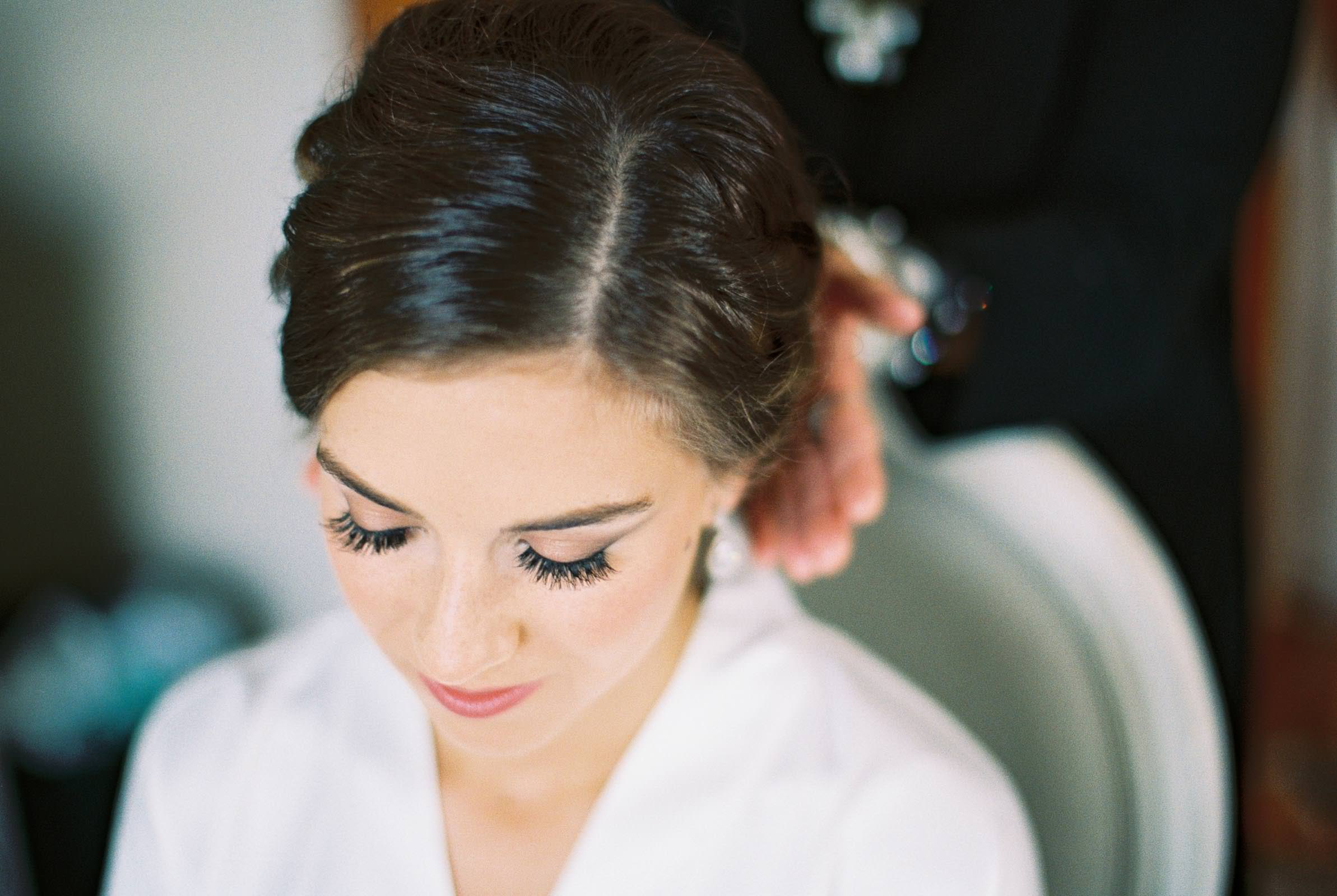 Getting ready at Lord Hill Farms captured on film by top Seattle Wedding Photographer Anna Peters