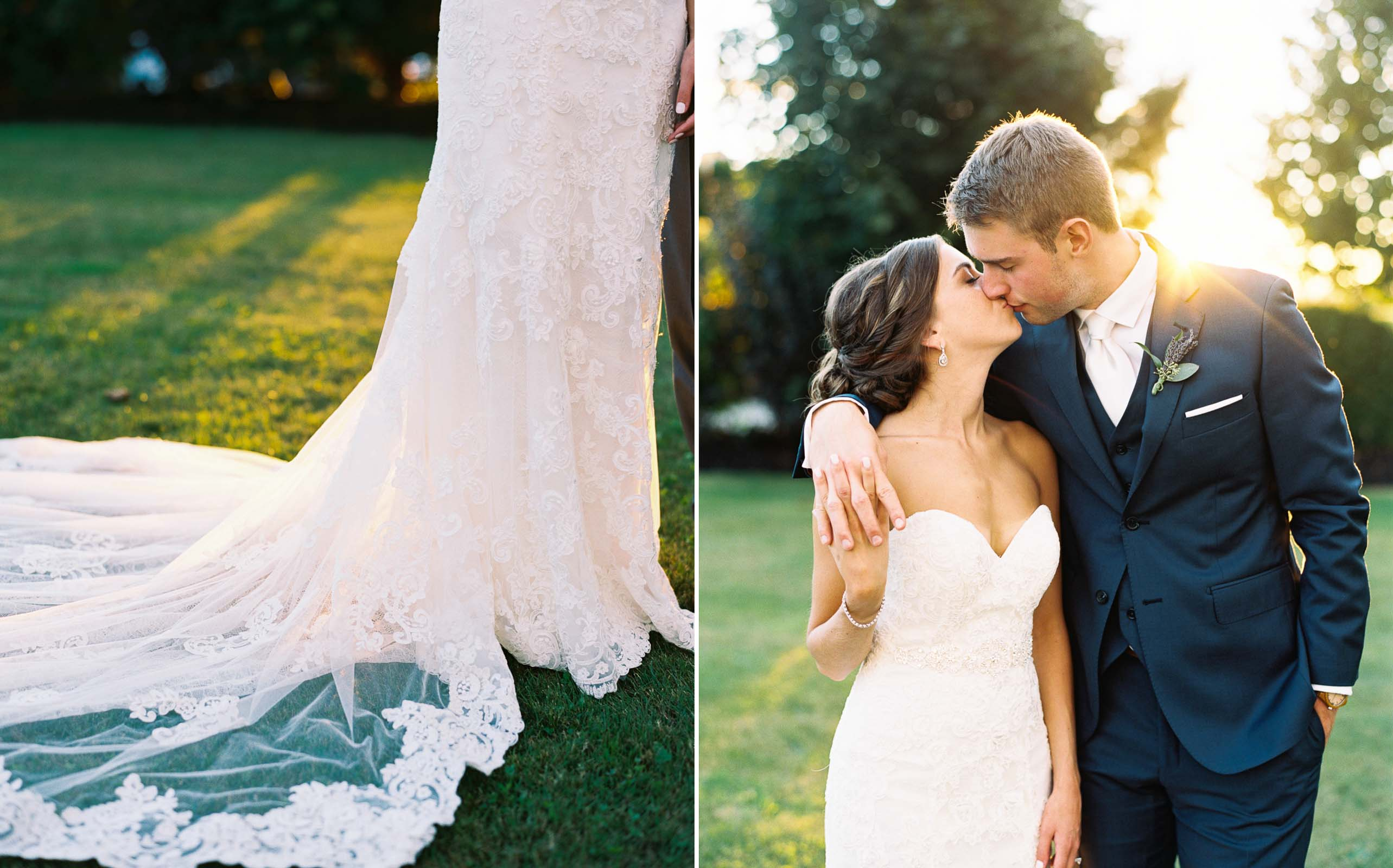 Golden hour wedding portraits on the lawn at Lord Hill Farms captured by Seattle Wedding Photographer Anna Peters