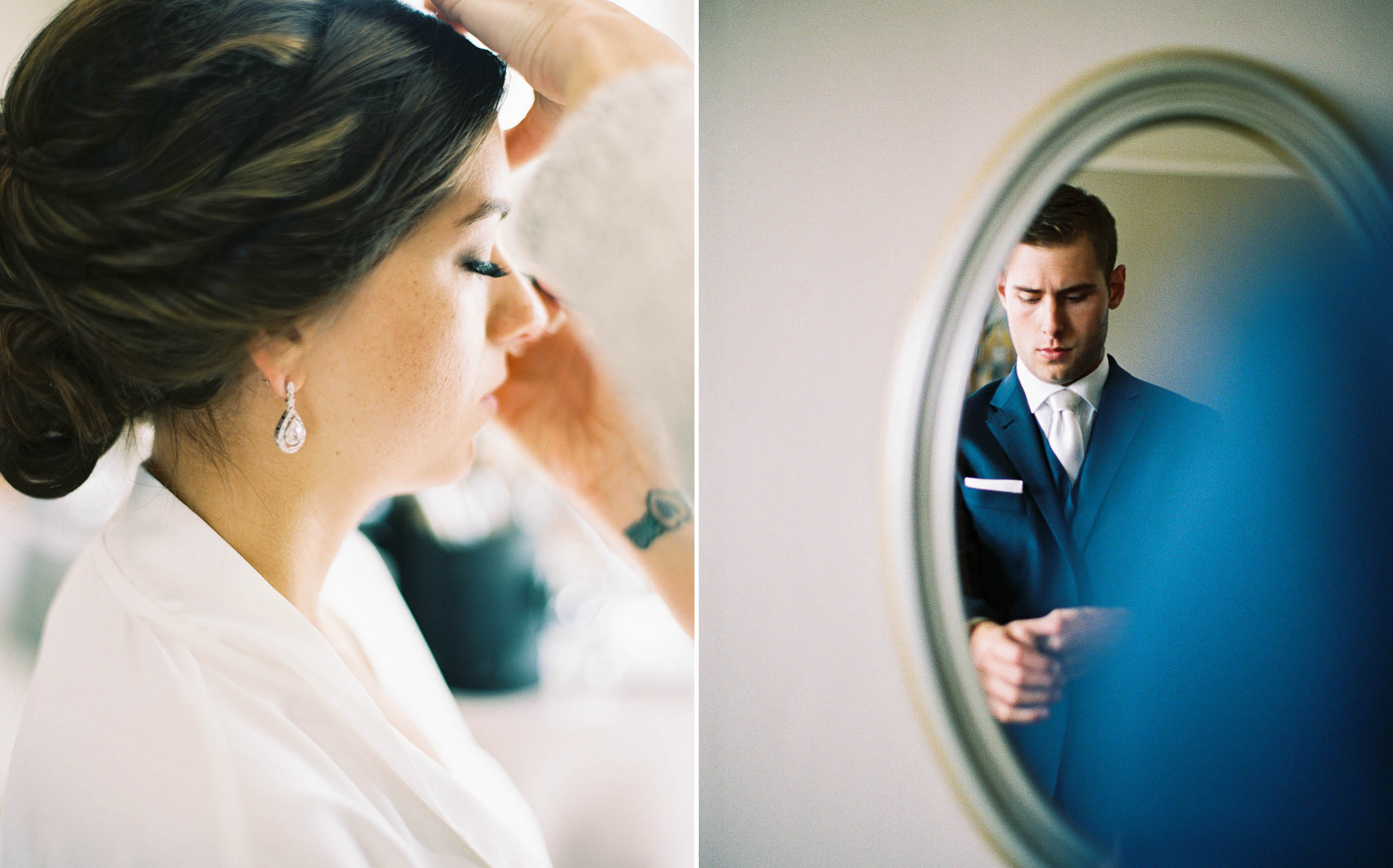 Bride and Groom get ready for their wedding at Lord Hill Farms