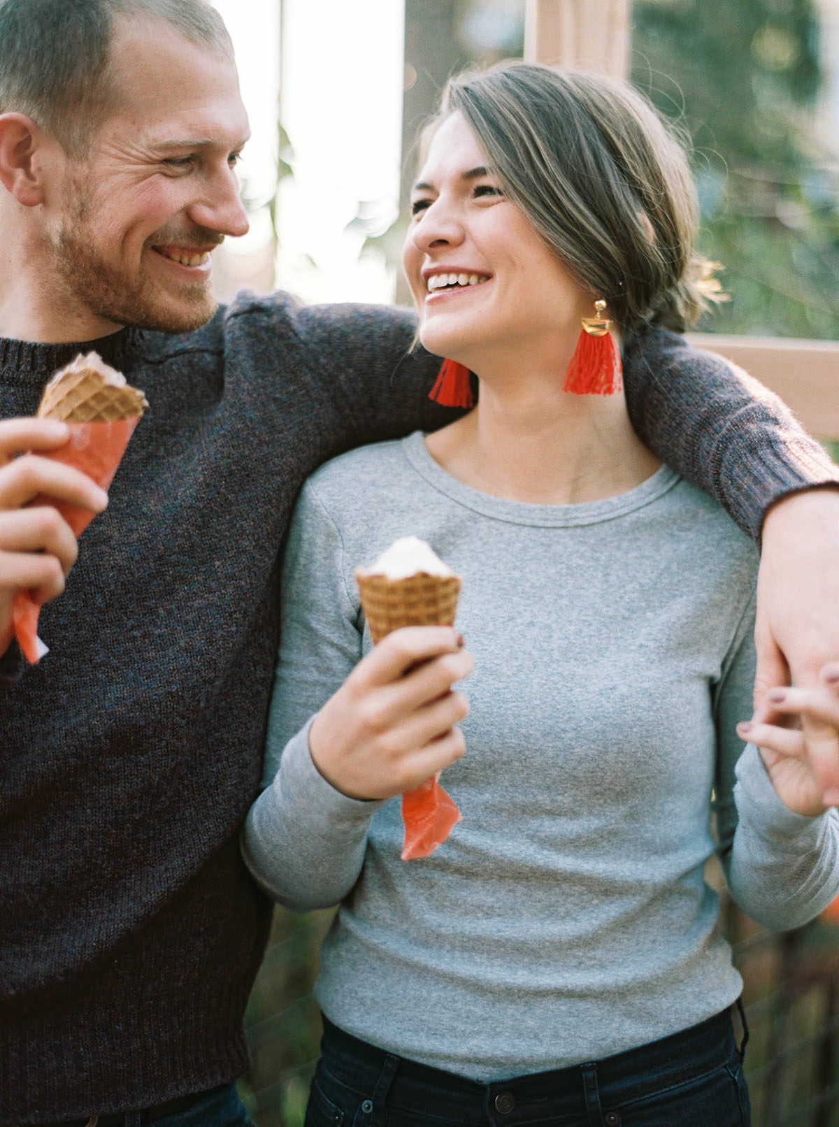 Engagement Photos at Frankie and Jos Ice Cream shop in Ballard by Seattle Wedding Photographer Anna Peters
