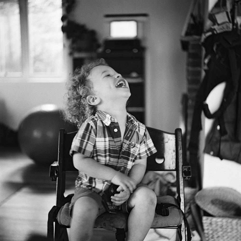 In home family session on film by Seattle Family Photographer Anna Peters