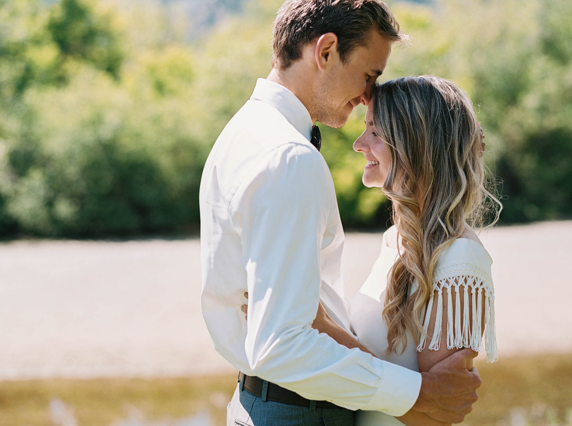 An easy-going first look in Leavenworth captured on film by Seattle wedding photographer Anna Peters