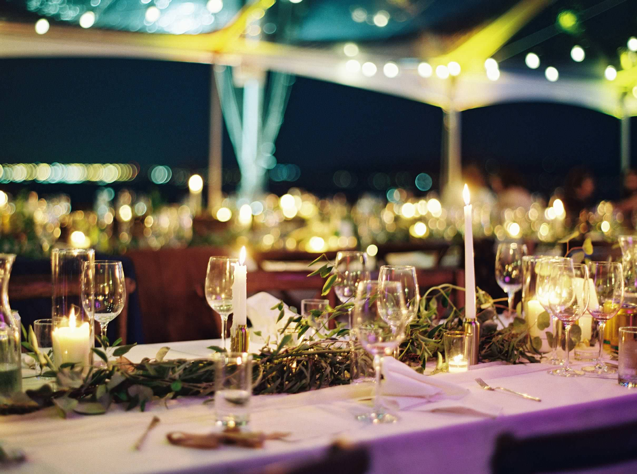 Nighttime details on the Seattle waterfront at an elegant The Admiral's House wedding