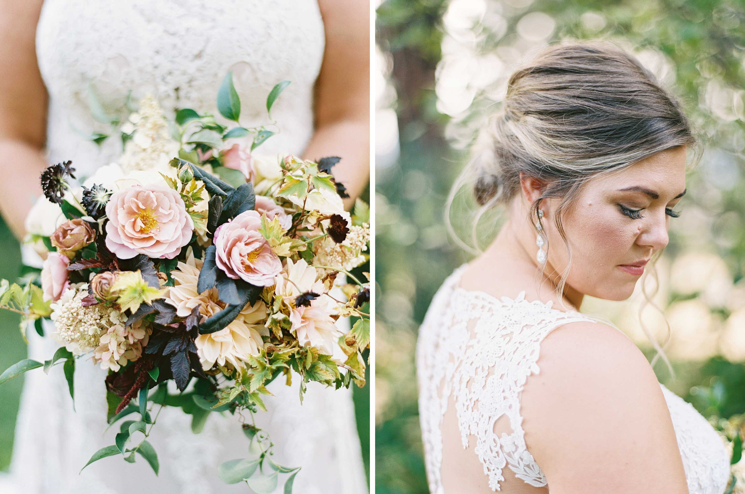 Berry toned, fall wedding with garden inspired floral design at Arbor Crest Winery in Spokane, Washington | Photographed by Seattle and Destination Wedding Photographer Anna Peters