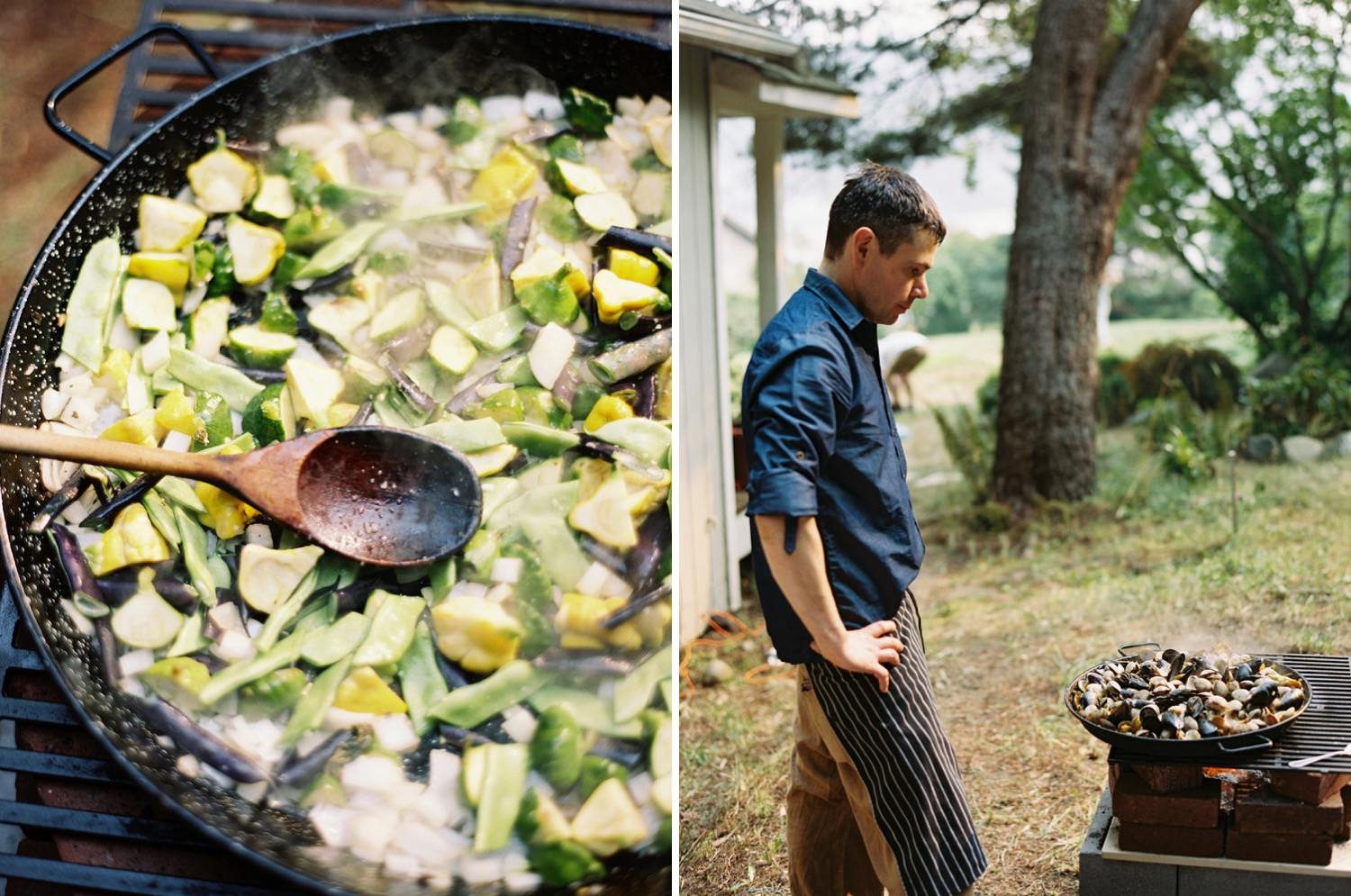 A wedding meal cooked over the fire on Bainbridge Island