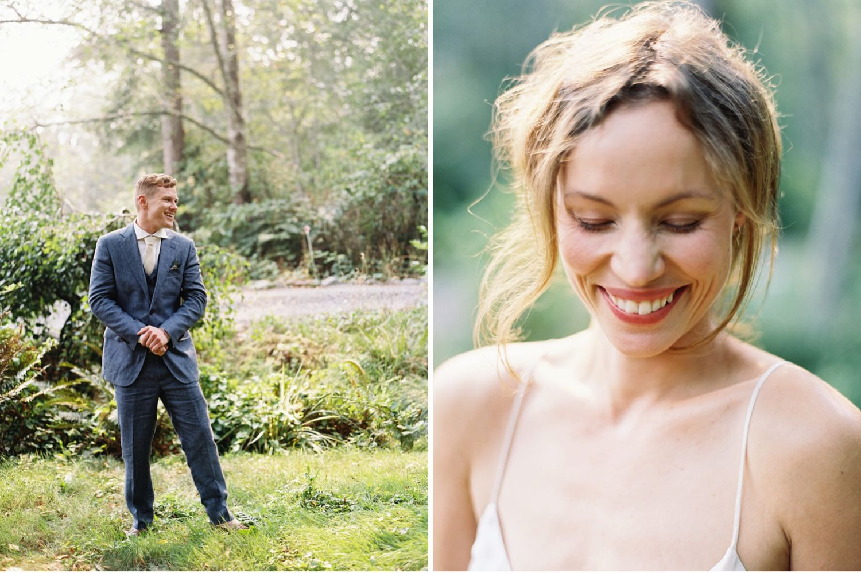Bride and groom at a Bainbridge Island Wedding