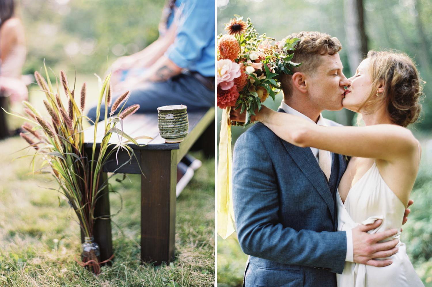 Floral details at a romantic backyard wedding captured by Seattle Wedding Photographer Anna Peters