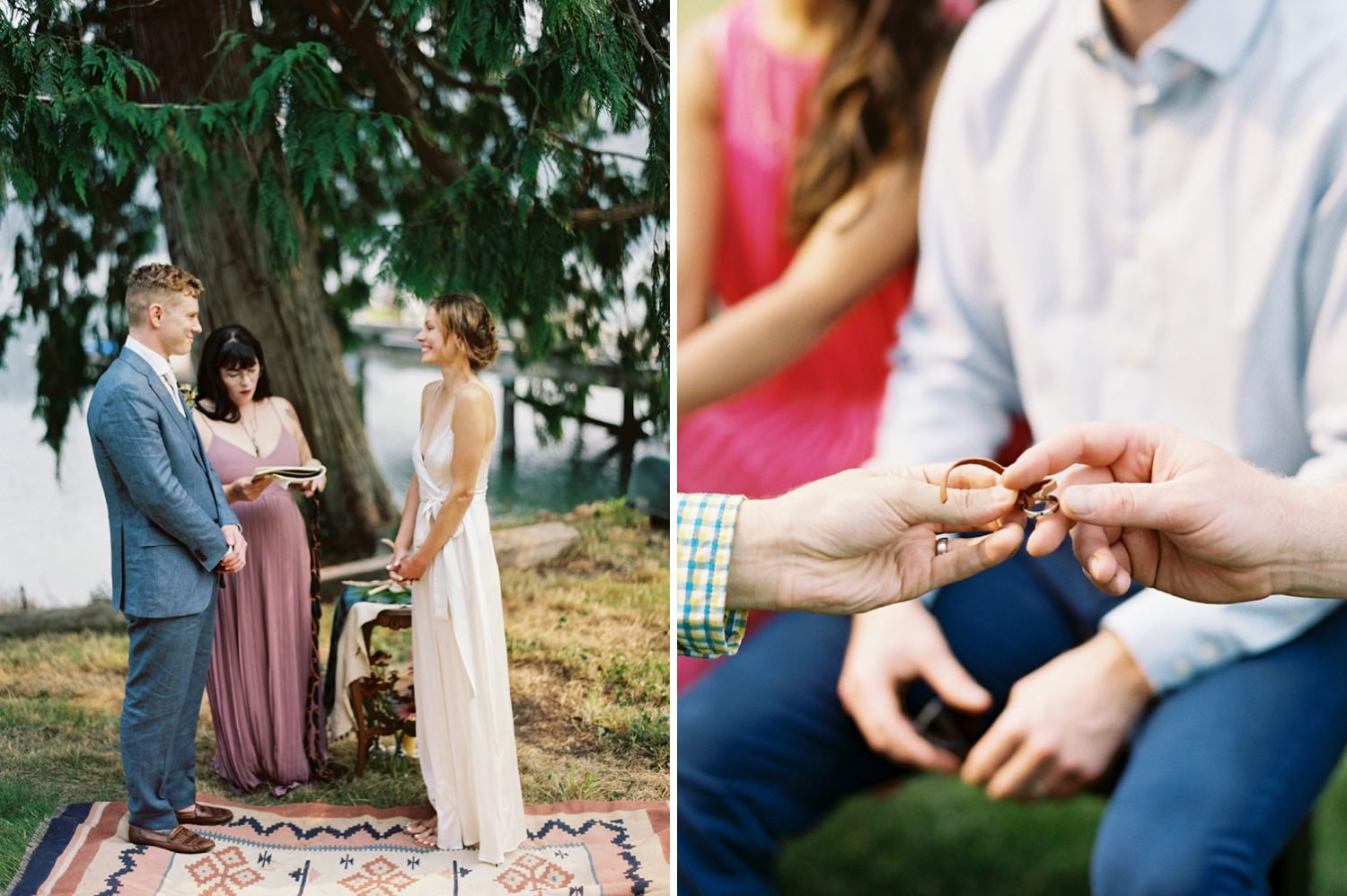 Intimate wedding ceremony on Bainbridge Island captured by Seattle Wedding Photographer Anna Peters