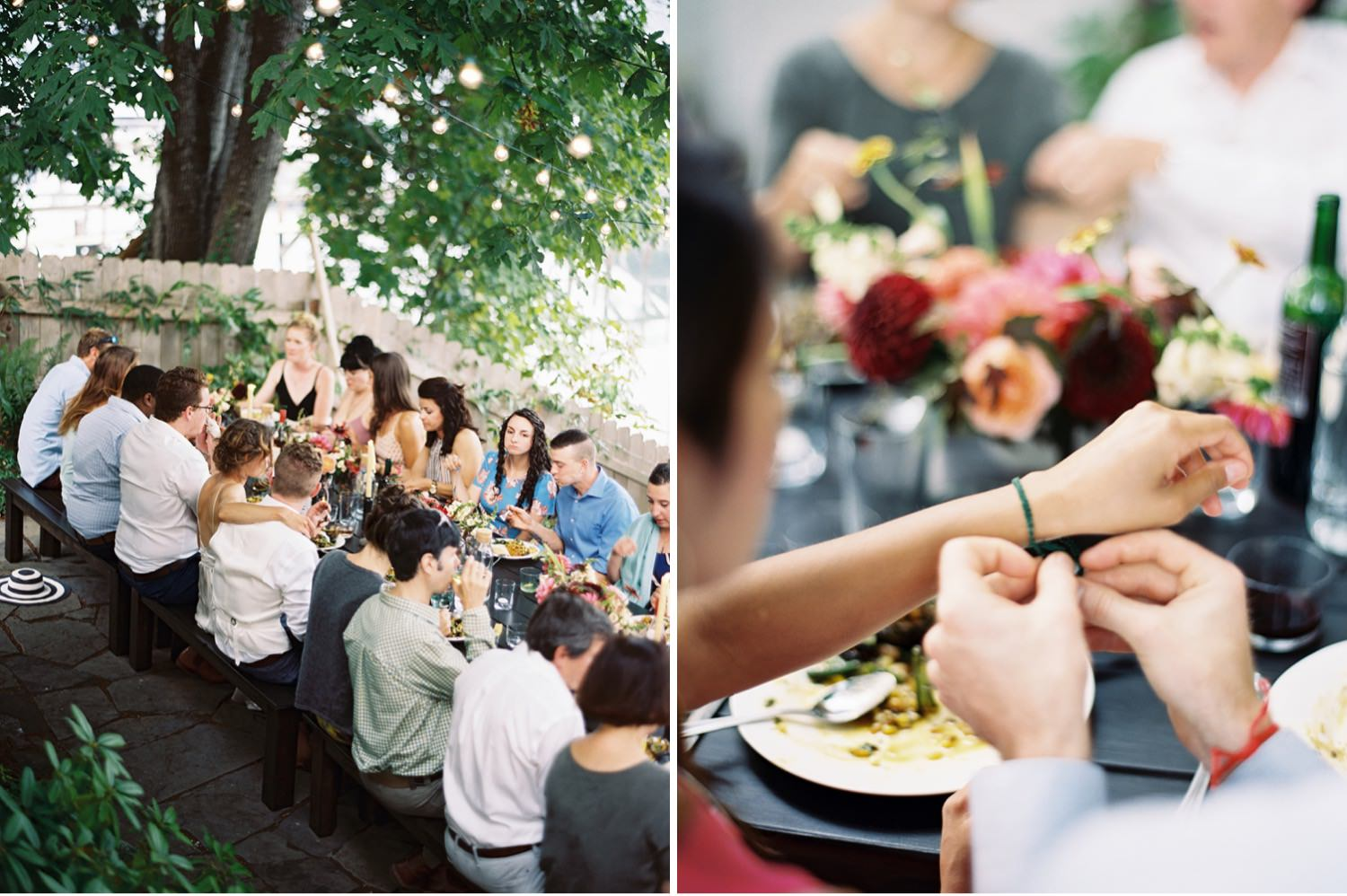 Farm to table dinner at an intimate backyard wedding
